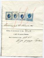 MARCHE DA BOLLO ITALIANE DI TRANSIZIONE SU DOCUMENTO FIORINI 0.012 0.01 0.03 REGNO VITTORIO EMANUELE II FISCALI 1868 - Steuermarken