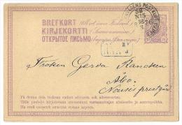 10 P Violet  With TPO FINSKA JERNVÄGENS POSTKUPÉ EXPED. 38 No 5 - 18/3/1876 - Postal Stationery