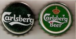 LOTE DE 2 CHAPAS DE CERVEZA CARLSBERG  (BEER-BIERE) CORONA - Bier