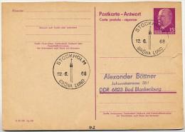 GRÖNA LUND STOCKHOLM Schweden 1968 Auf DDR P 74 A Antwort-Postkarte - Holidays & Tourism