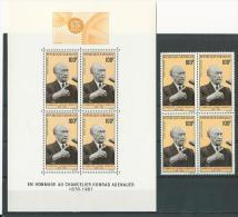 Gabon: PA 65** (bloc De 4) + BF 9 **  Chancelier Konrad Adenauer - Gabon (1960-...)