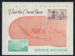 "D206 - INDONESIA 1961 ,  Foglietto ""visit Orient Year"" - Indonesia"