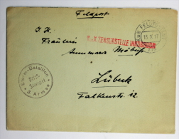 Germany Feldpost Sturm Bataillon 3. Armee To Lübeck, Zensurstelle Innsbruck, 1917