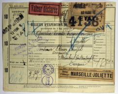 France: Bulletin D´expédition De Colis Postal Paris A Istanboul/Constantinopel, 1926 +stamps From Turkey, Rare