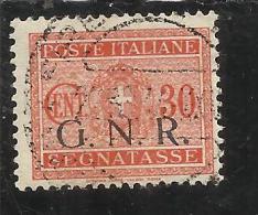 ITALY KINGDOM ITALIA REGNO 1944 REPUBBLICA SOCIALE ITALIANA RSI TASSE TAXES SEGNATASSE GNR CENT. 30 TIMBRATO USED - 4. 1944-45 Social Republic