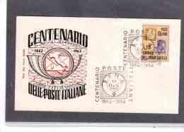 """TEM6539     -   """" CENTENARIO POSTE ITALIANE """"  /  ROMA  12.12.1962 - Post"""