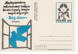 Pologne 1986 Entier  Fi. 934 Expo Philatélique De La Jeunesse Des Pays Socialistes Paix Pour Les Enfants Colombe - Interi Postali