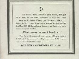 Bordinckx Jeanne, Vve De Monteyremar Charles, Anvers 26 Juin 1836 - Obituary Notices