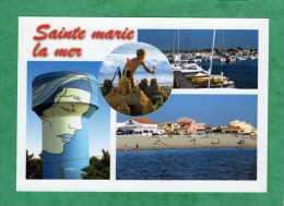 Sainte-Marie-la-Mer Château De Sable Plage Voiliers Port Bateaux Château D'eau - Autres Communes