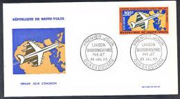 B0214 Upper Volta 1963, Jet Ouagadougou - Paris  FDC - Upper Volta (1958-1984)