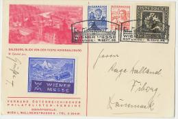 1936 WIENER-MESSE ROTUNDE 3+2 Gr Bild In Roth: Salzburg, Blick Vonder Feste Hohensalzburg  + Vignette - Ganzsachen