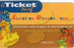 TICKET SURF FT NON GRATTE  3000 EX Dragon - Frankrijk