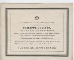 Cuylits Philippe, Veuf De Mme Marie De Liagre, Anvers 5 Février 1842 - Obituary Notices