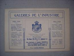 Cartoncino/fattura GALERIES DE L'INDUSTRIE Di Lucien Maitre (bronzi, Orologi, Cristalli) - NAPOLI 1910 - Fatture & Documenti Commerciali