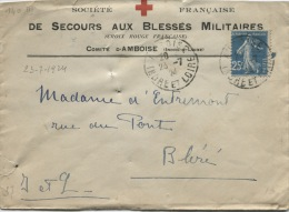 AMBOISE (Indre Et Loire) Enveloppe De La Société Franç. De Secours Aux Blessés Militaires - Red Cross
