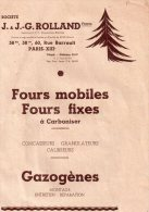 """Fscicule Publicitaire Des Fours Mobiles Et Fixes """" Ste J.g.rolland , Paris 13eme"""",concasseurs,granulateurs,gazogene - Advertising"""