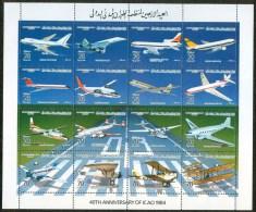 1984 Libia Libya Libye Libyen 40° O.A.C.I. Aviazione Civile Aviation Block MNH** R - Libya
