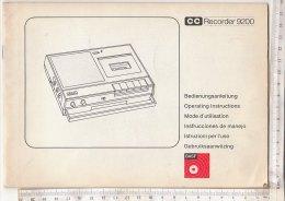 C1046 - LIBRETTO ISTRUZIONI REGISTRATORE A CASSETTE RECORDER 9200 - Apparecchi