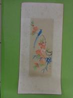 Tableau 16.5cm X 30cm -broderie Asiatique Sur Soie -paon-papillon - Aziatische Kunst