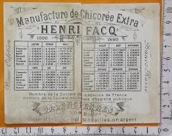Chromo Fin 19 / Chicorée Henri Facq Valenciennes / Calendrier Complet 1890 / Paysage Hiver Maison Neige - Autres
