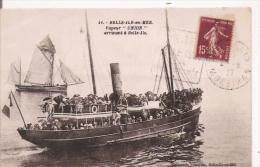"BELLE ILE EN MER  41 VAPEUR ""UNION"" ARRIVANT A BELLE ILE  1927 - Belle Ile En Mer"
