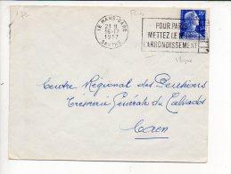 """1957 Le Mans-Gare - Flamme Flier 7 Lignes """" Pour Paris Mettez Le N° De L'Arrondissement"""" Sur Muller - Marcofilie (Brieven)"""