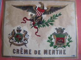 1  XIX Ième Etiquette  LITHO  PARAFINE  SUBLIME - CREME DE MENTHE  AIGLON  LICORNE - DIEU  ET MON DROIT IMPR. E. PICHOT - Autres