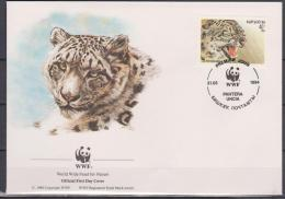Kyrgyzstan, 1994, WWF, Snow Panther, 4 FDC´s - Felini