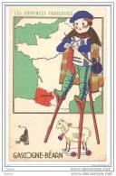 Chromo Image Pub Cirage Lion Noir Provinces Françaises Gascogne Bearn Pau Auch Pyrénées Biarritz Guyenne Format Carte Po - Trade Cards