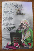 Ancienne Carte Postale Photo Femme à La Coiffe Prière à Ste Catherine Rare - Santi