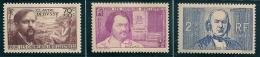 1939  Debussy-Balzac-Bernard Lot De 3 Timbres Neufs  Y&T N° 437-438-439 - France