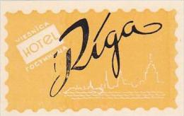 RUSSIA VIESNICA HOTEL RIGA VINTAGE LUGGAGE LABEL - Hotel Labels