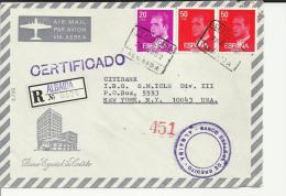 ALBAIDA VALENCIA CC CERTIFICADA SELLOS BASICA JUAN CARLOS I AL DORSO MAT LLEGADA - 1981-90 Cartas
