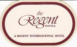 PHILIPPINES MANILA REGENT HOTEL OLD LUGGAGE DECAL - Hotel Labels