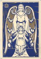7237 - Ange Aux Ailes Dorées Et Jeune Fille Par Mia Van Oostveen Format 10X15 - Anges