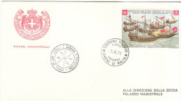 SMOM 1971 FDC IV CENTENARIO BATTAGLIA DI LEPANTO - Malte (Ordre De)