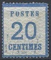 20 C. Bleu Oblitéré - Alsace-Lorraine