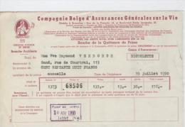 AG Souche Quittance Prime Bicyclette Mme Verborgh Gand Juillet 1950-1952 - Banque & Assurance