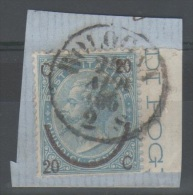 ITALIA 1865 - Effigie 20 Su 15 C. III T. Su Bel Frammento  (g4211) - 1861-78 Vittorio Emanuele II