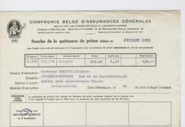 AG Souche Quittance Prime Delpire Adolphe St Denis Bovesse Juillet 1951 - Banque & Assurance