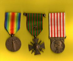 LOT 3 MEDAILLES MILITAIRE 1914.18 - Other Countries