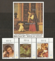 PINTURA - BHUTAN 1989 - Yvert #817/19+H156 - MNH ** - Arte