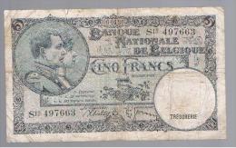 BELGICA - 5 Francs  1938  P-108 - Bélgica