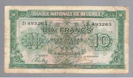 BELGICA - 10 Francs 1943 Circulado P-122 - Bélgica