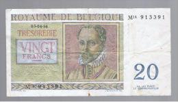 BELGICA -  20 Francs  1956  P-132 Serie M - Bélgica
