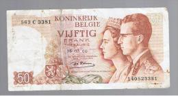 BELGICA -  50 Francs  1966 Rotura   P-139 - Belgium