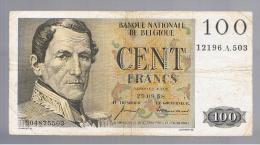 BELGICA -   100 Francs  1958  P-129 - Bélgica