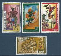 """Dahomey YT 348 à 351 """" Danses, 4 TP """" 1975 Neuf** - Bénin – Dahomey (1960-...)"""