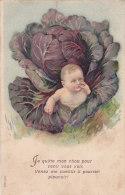 ¤¤  -   Carte Fantaisie Gauffrée  -  Bébé Dans Un Choux    -  ¤¤ - Naissance