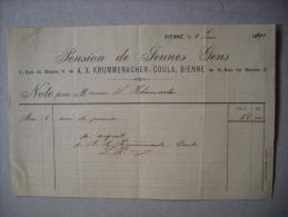 Fattura PENSION De FEUNES GENS - BIENNE 1900 - Svizzera